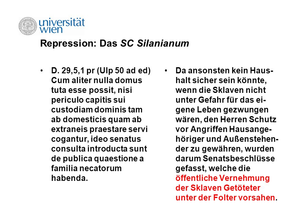Repression: Das SC Silanianum