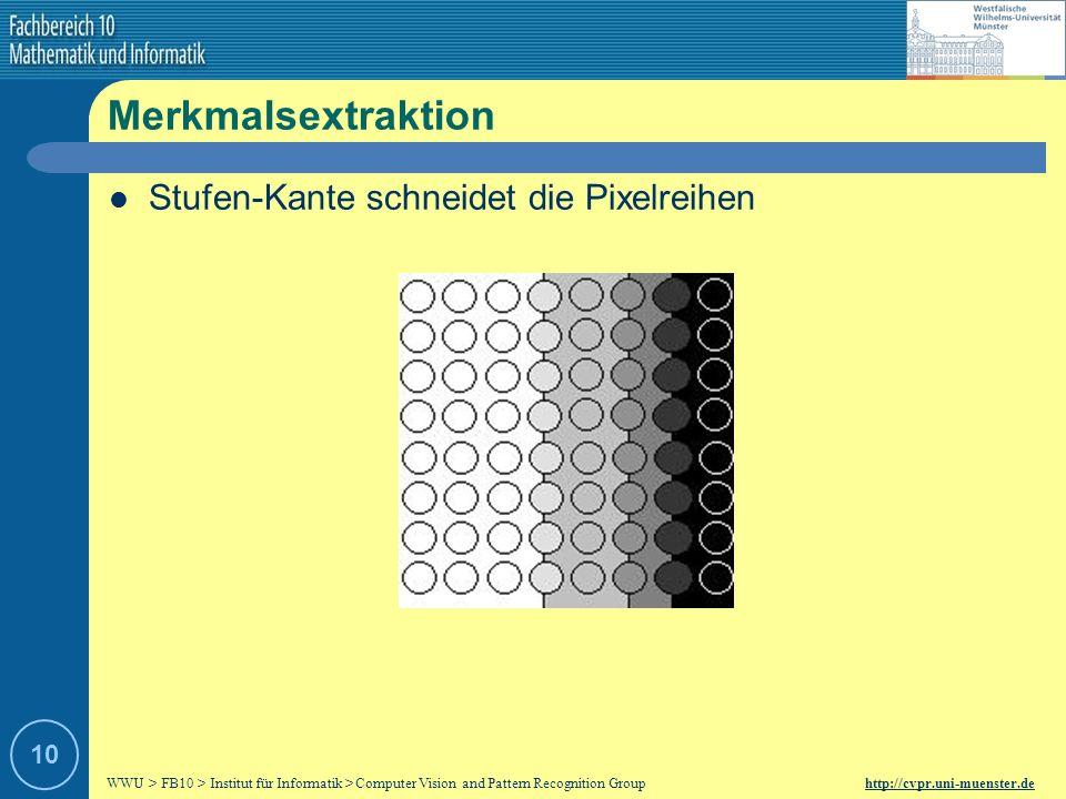 Merkmalsextraktion Stufen-Kante schneidet die Pixelreihen 10