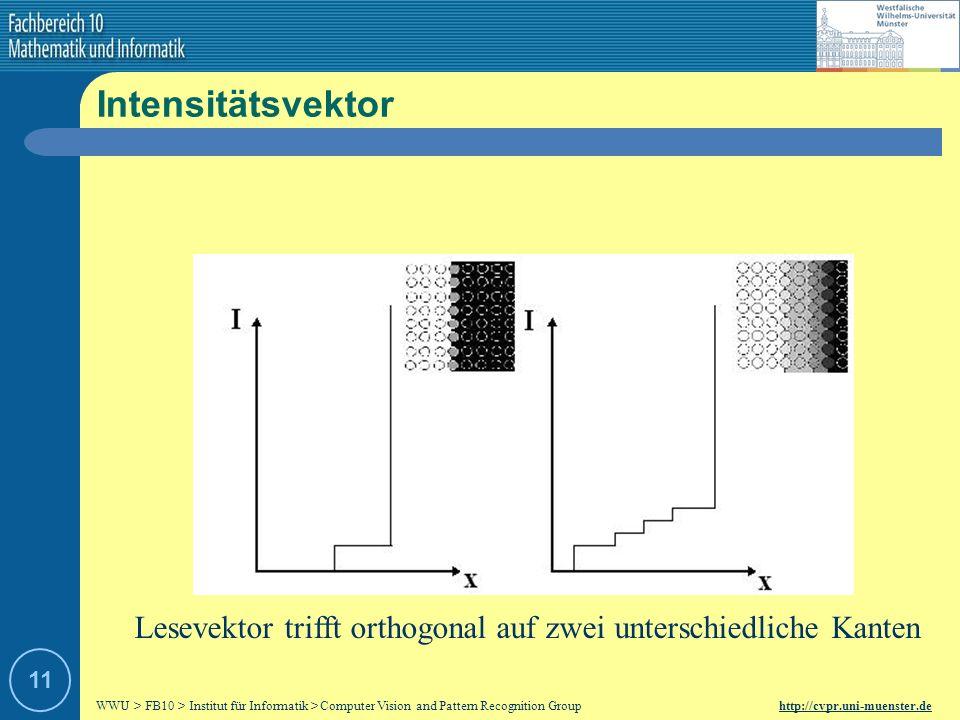 Intensitätsvektor Lesevektor trifft orthogonal auf zwei unterschiedliche Kanten 11