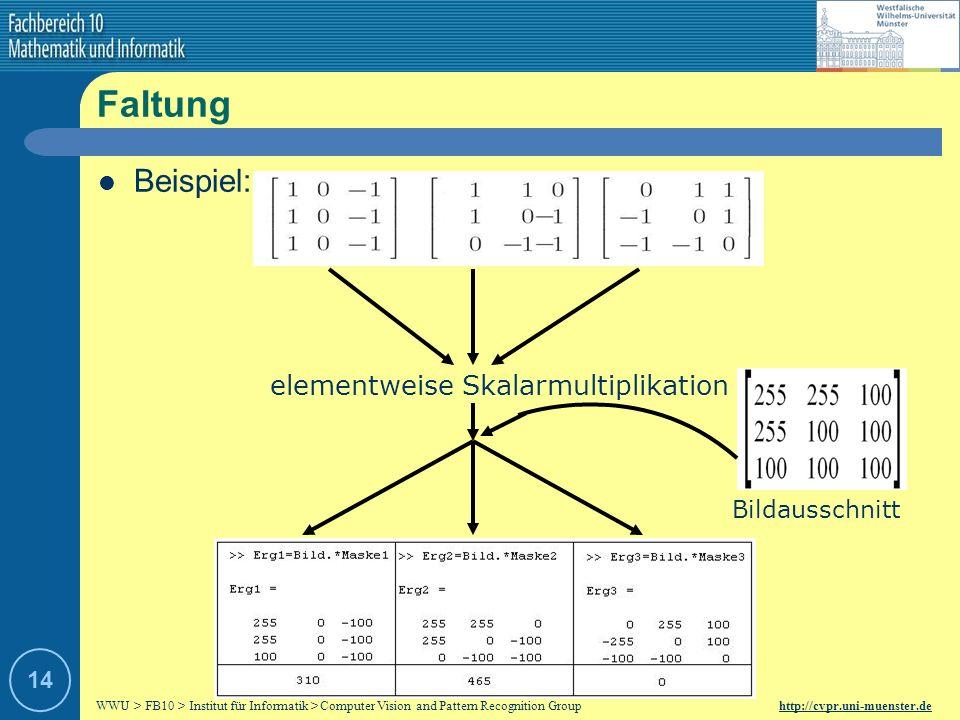Faltung Beispiel: elementweise Skalarmultiplikation Bildausschnitt 14