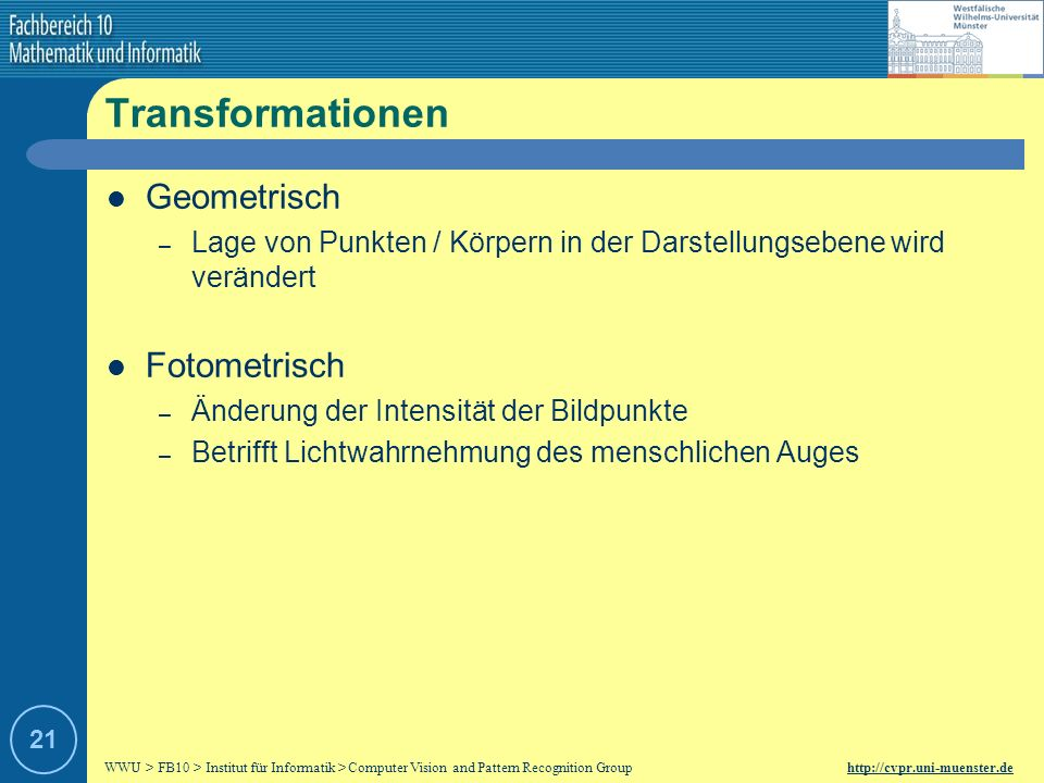 Transformationen Geometrisch Fotometrisch