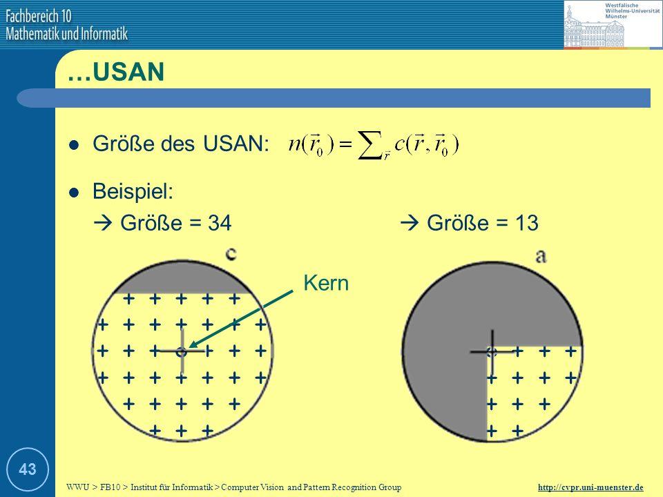 …USAN Größe des USAN: Beispiel:  Größe = 34  Größe = 13 + + +