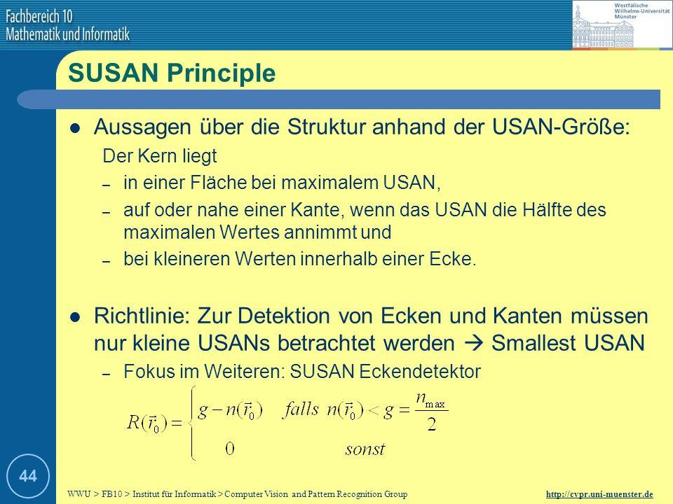 SUSAN Principle Aussagen über die Struktur anhand der USAN-Größe: