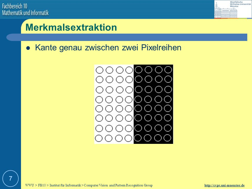 Merkmalsextraktion Kante genau zwischen zwei Pixelreihen 7