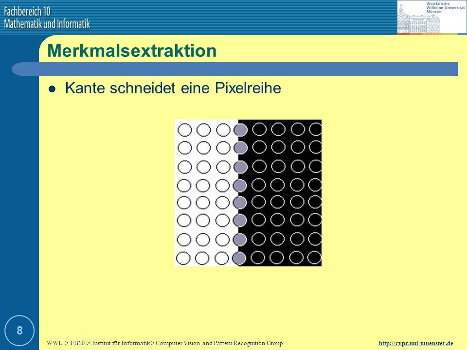 Merkmalsextraktion Kante schneidet eine Pixelreihe 8