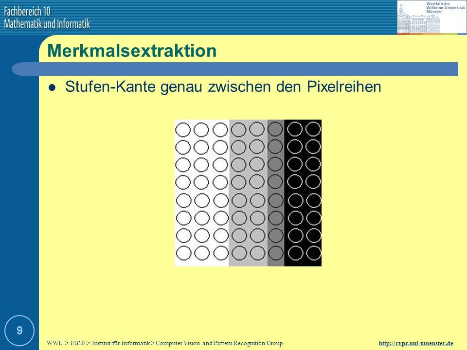 Merkmalsextraktion Stufen-Kante genau zwischen den Pixelreihen 9