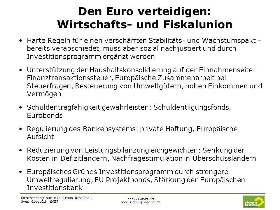 Den Euro verteidigen: Wirtschafts- und Fiskalunion