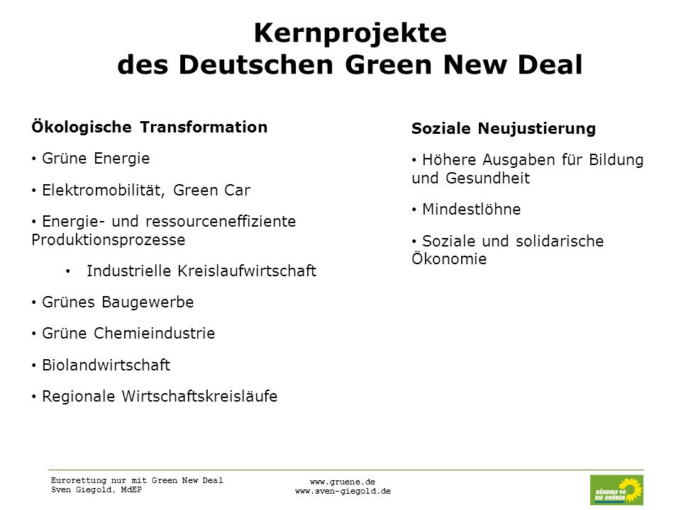 Kernprojekte des Deutschen Green New Deal