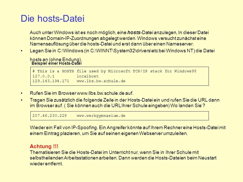 Beispiel einer Hosts-Datei