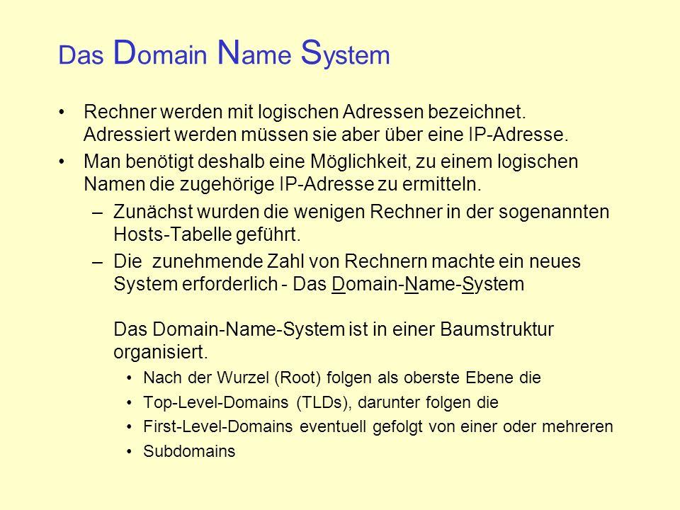 Das Domain Name System Rechner werden mit logischen Adressen bezeichnet. Adressiert werden müssen sie aber über eine IP-Adresse.