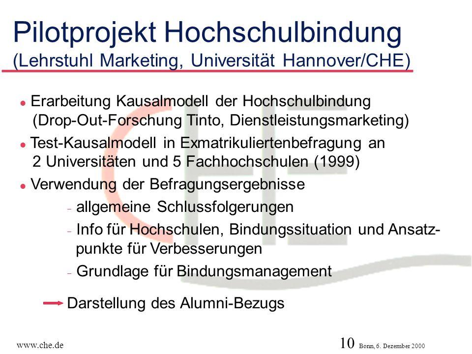 Pilotprojekt Hochschulbindung (Lehrstuhl Marketing, Universität Hannover/CHE)