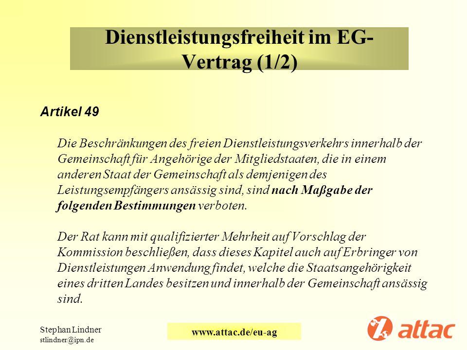 Dienstleistungsfreiheit im EG-Vertrag (1/2)