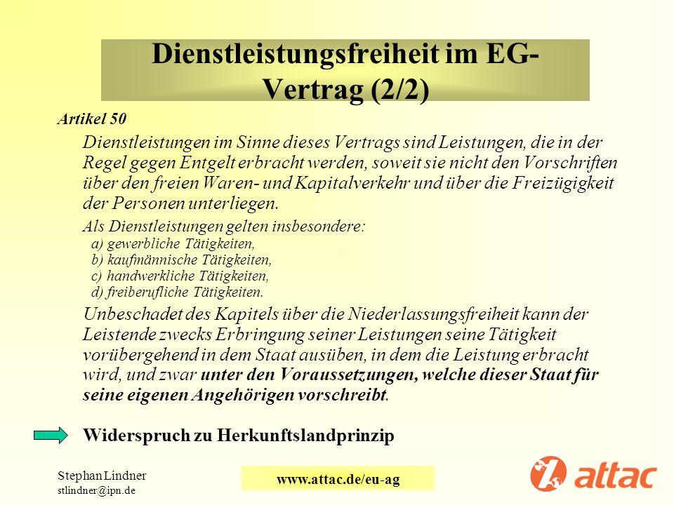 Dienstleistungsfreiheit im EG-Vertrag (2/2)