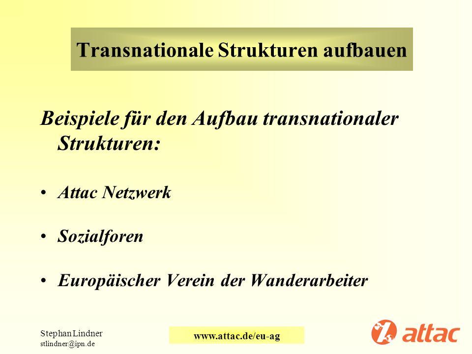 Transnationale Strukturen aufbauen