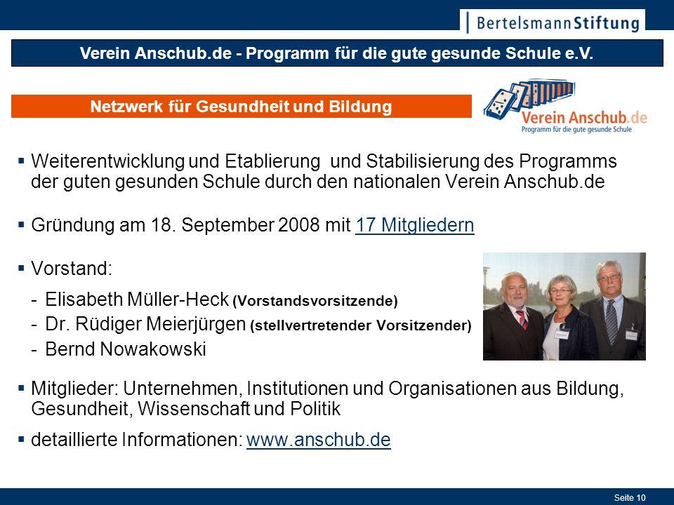 Gründung am 18. September 2008 mit 17 Mitgliedern Vorstand: