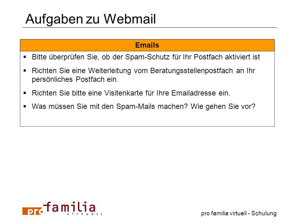 Aufgaben zu Webmail Emails