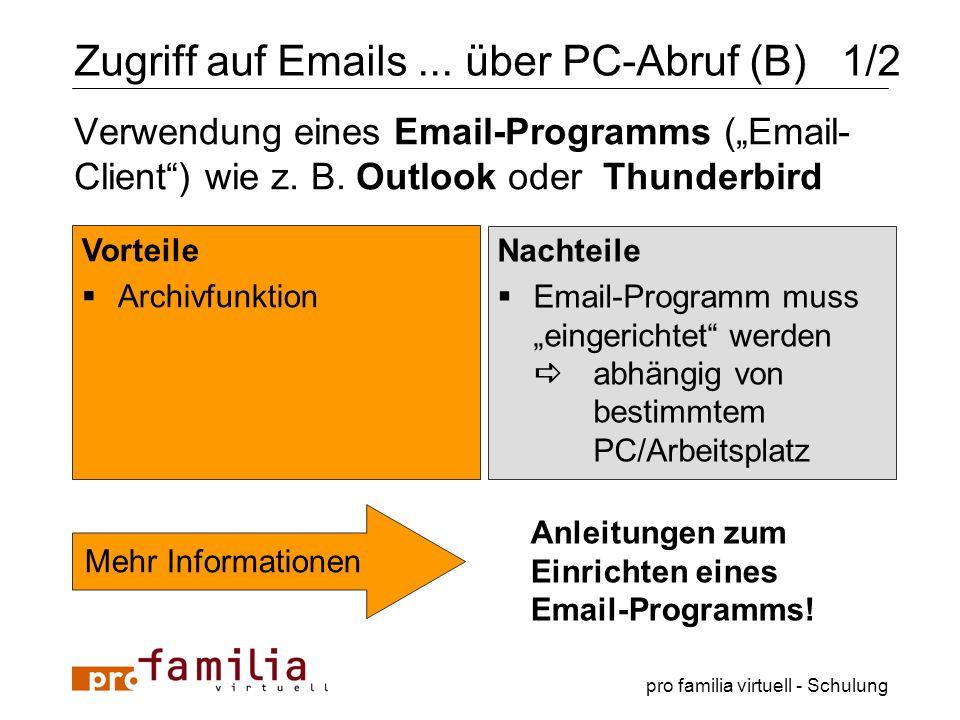 Zugriff auf Emails ... über PC-Abruf (B) 1/2
