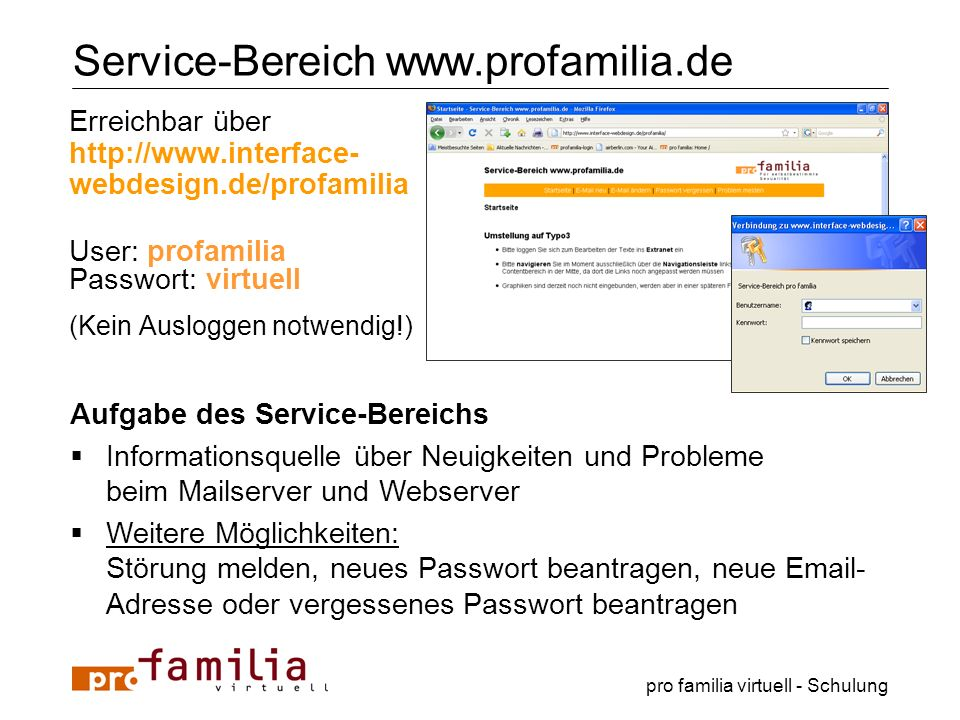 Service-Bereich www.profamilia.de