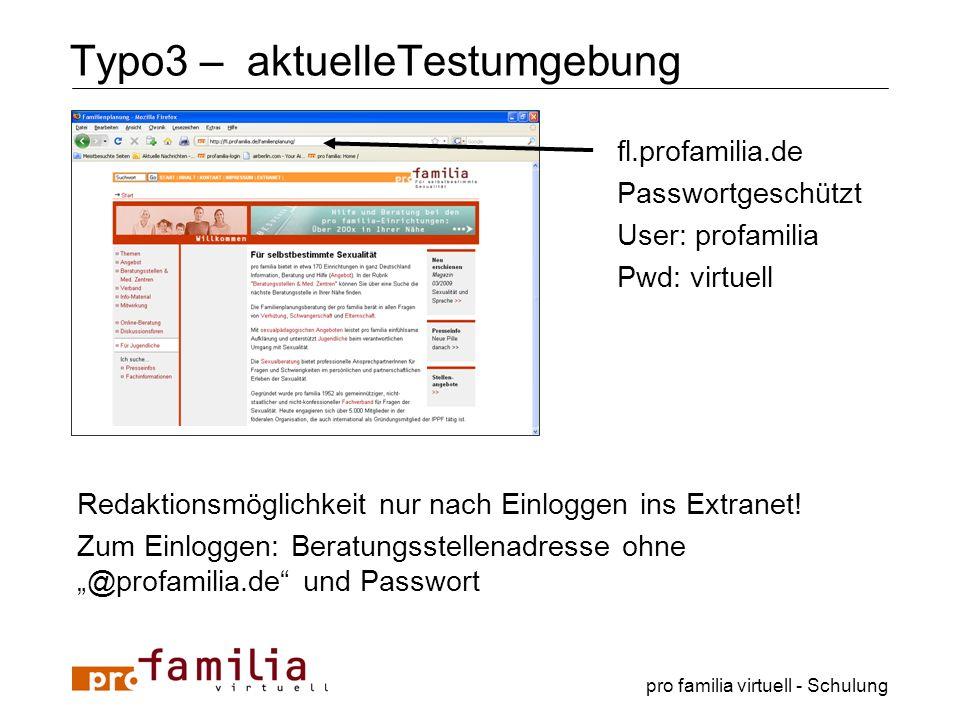 Typo3 – aktuelleTestumgebung