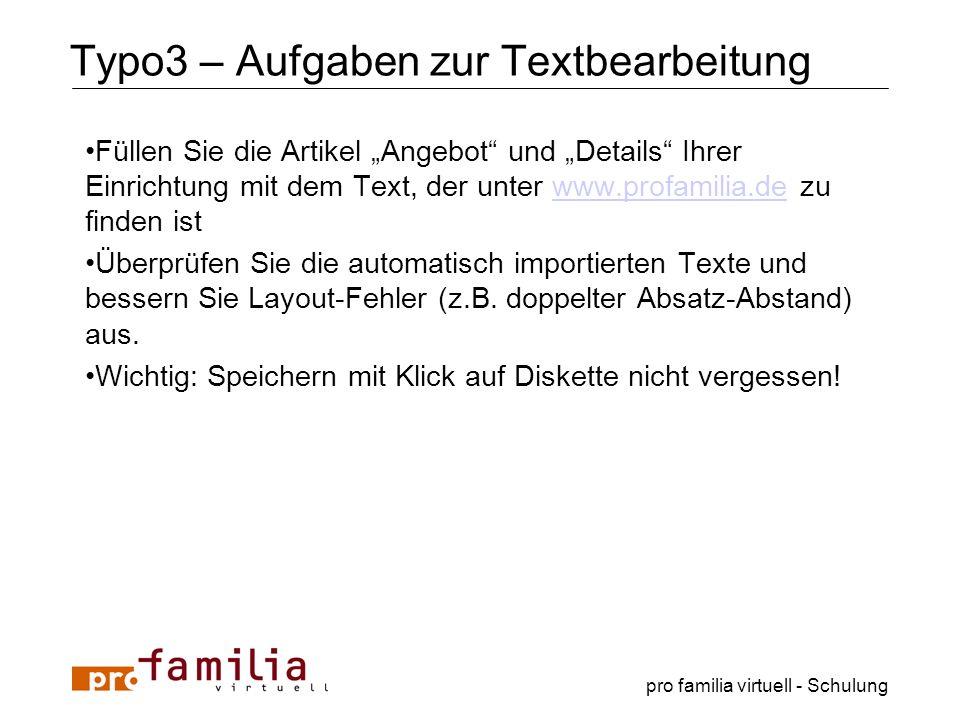 Typo3 – Aufgaben zur Textbearbeitung