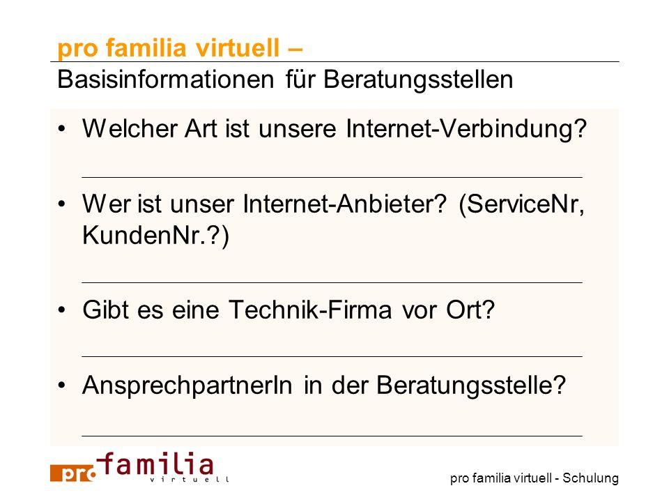 pro familia virtuell – Basisinformationen für Beratungsstellen