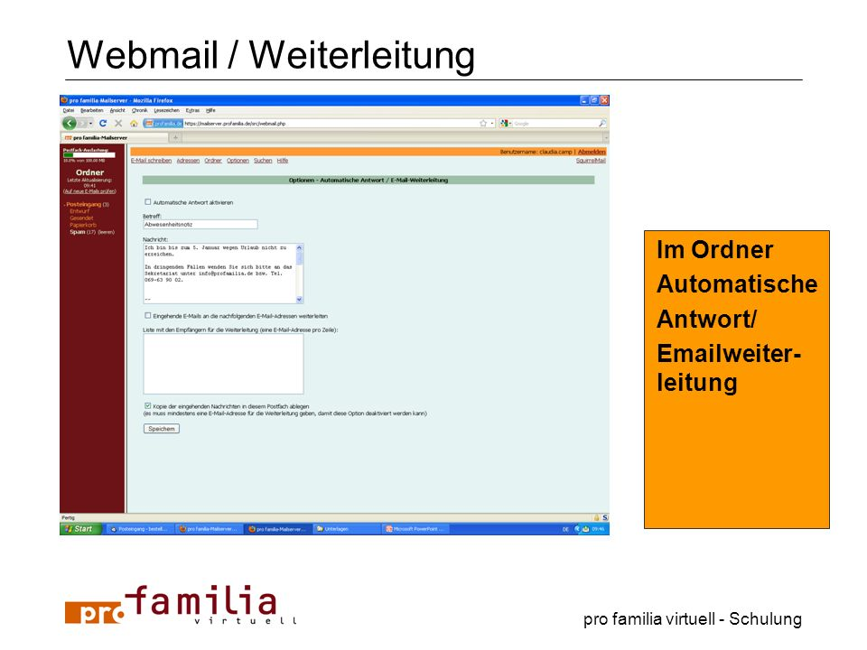 Webmail / Weiterleitung
