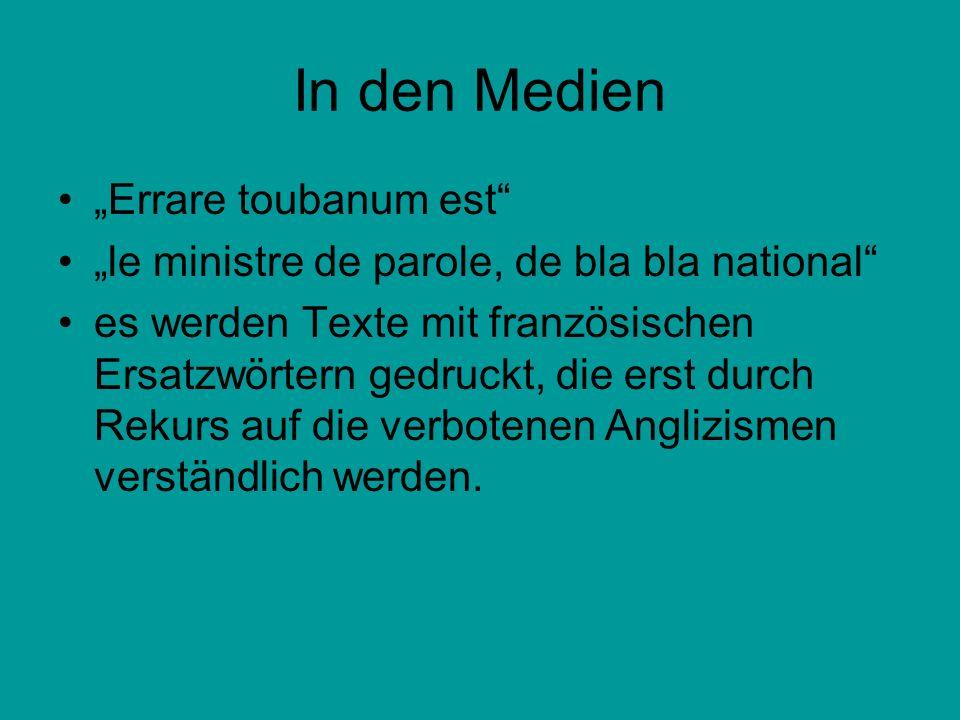 "In den Medien ""Errare toubanum est"
