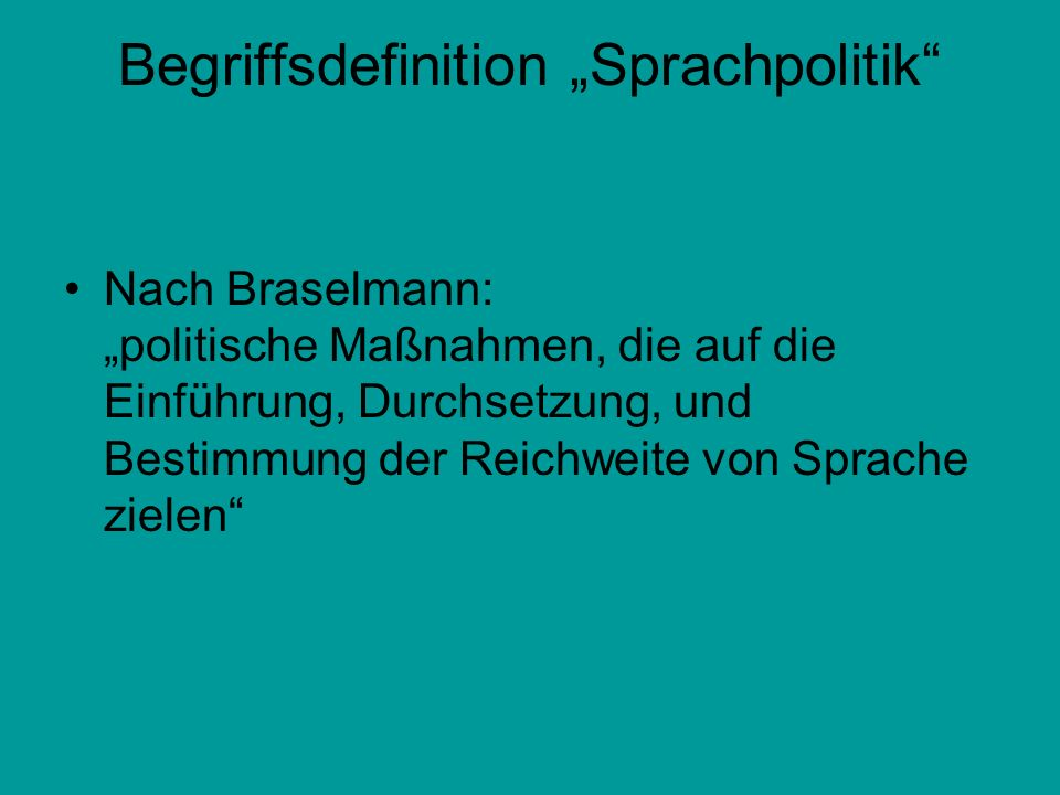 """Begriffsdefinition """"Sprachpolitik"""