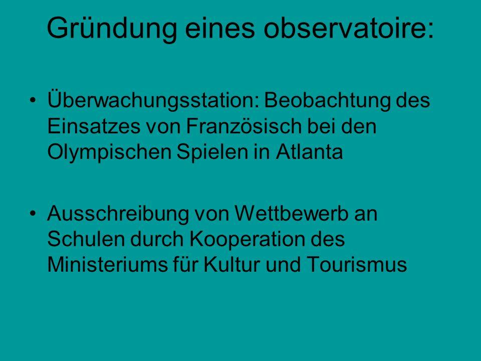 Gründung eines observatoire: