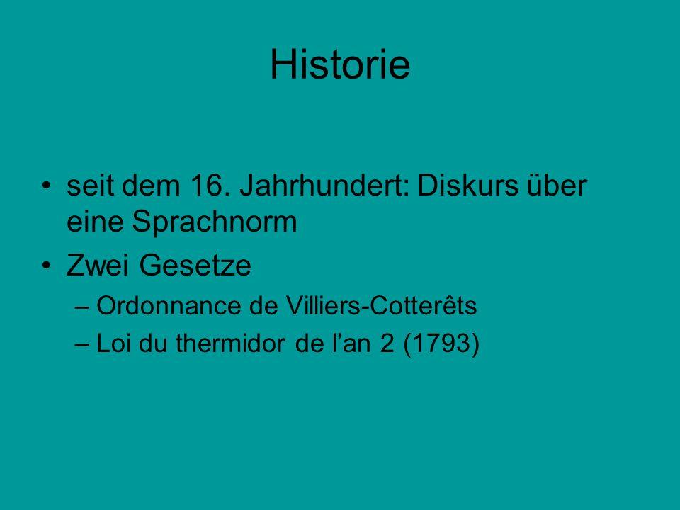 Historie seit dem 16. Jahrhundert: Diskurs über eine Sprachnorm