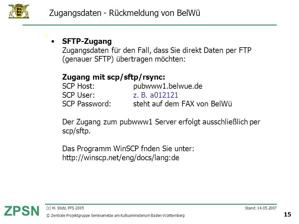 Zugangsdaten - Rückmeldung von BelWü
