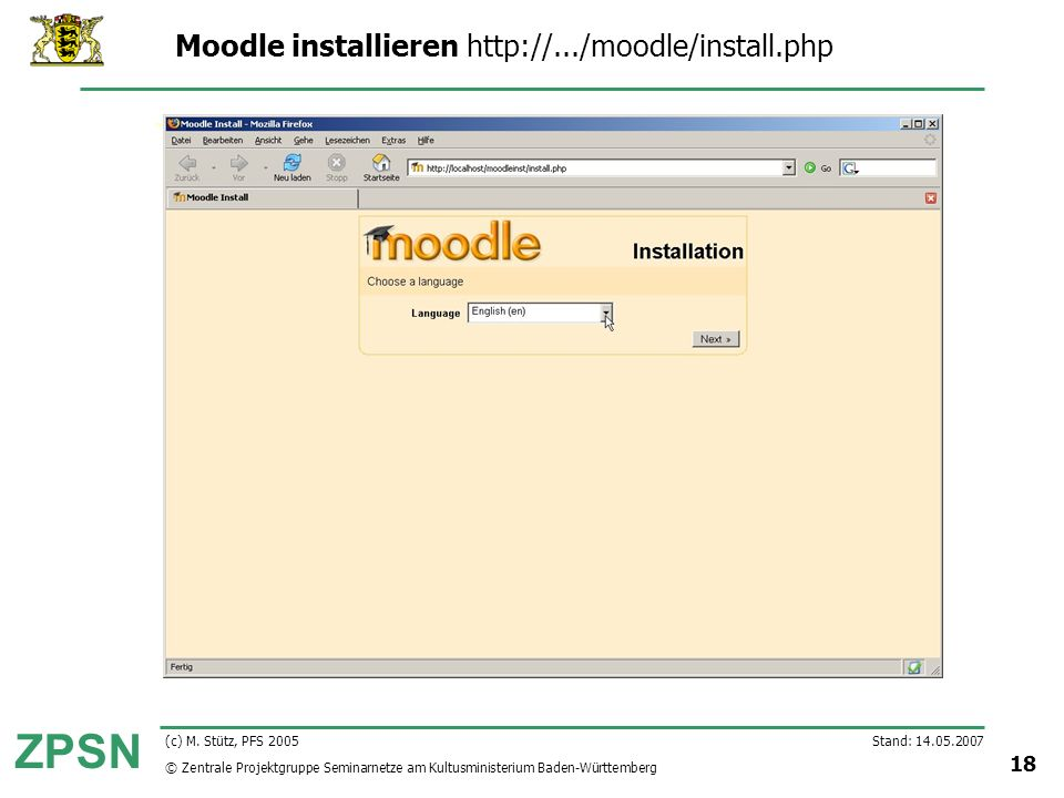 Moodle installieren http://.../moodle/install.php