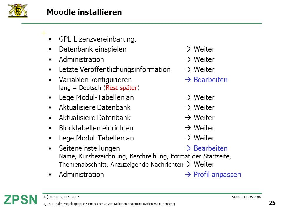 Moodle installieren GPL-Lizenzvereinbarung.