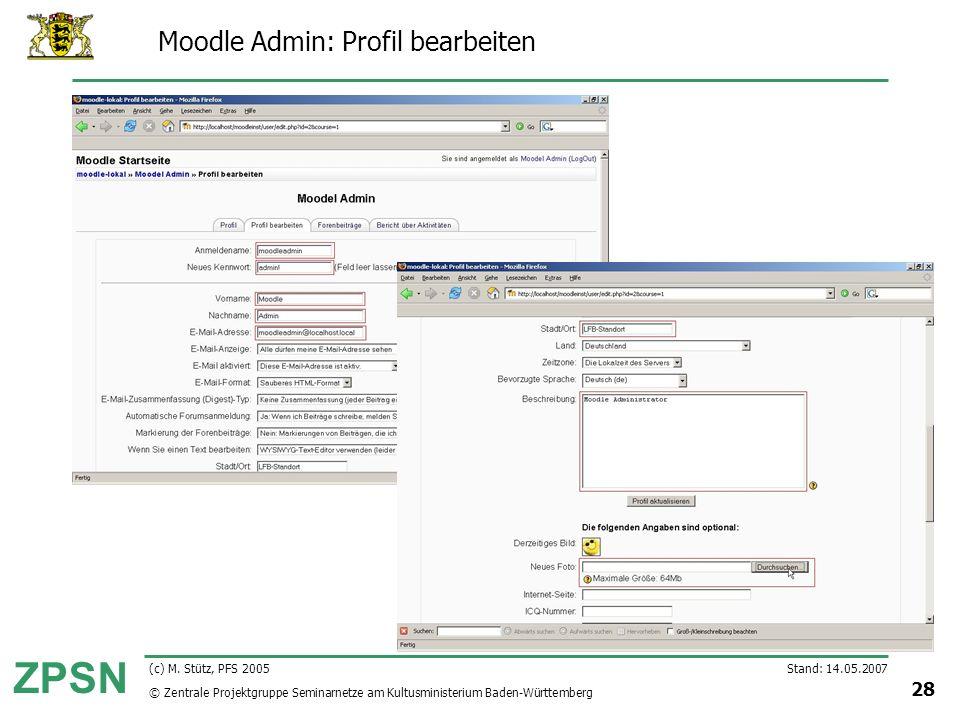 Moodle Admin: Profil bearbeiten