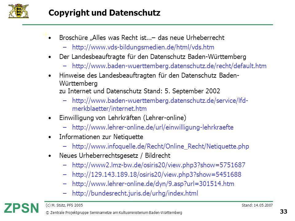 Copyright und Datenschutz