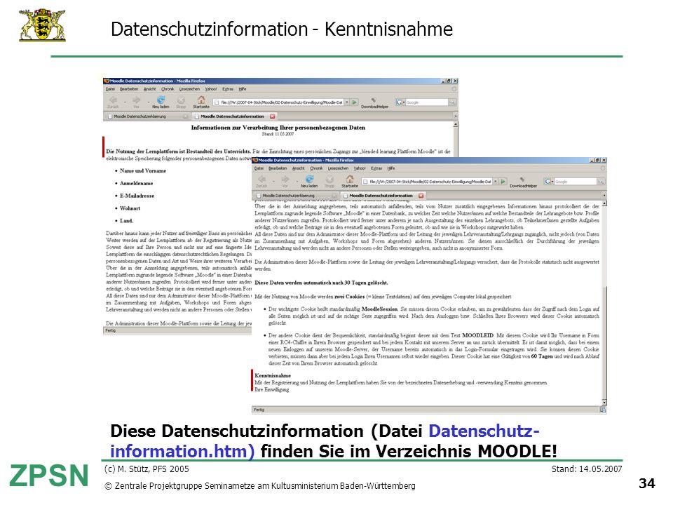 Datenschutzinformation - Kenntnisnahme