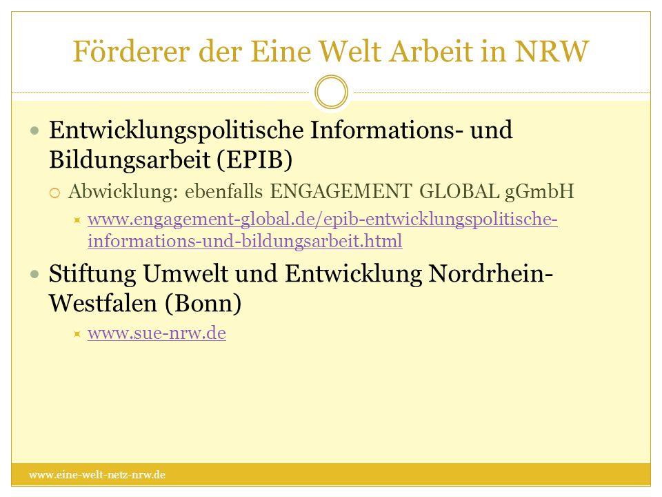 Förderer der Eine Welt Arbeit in NRW