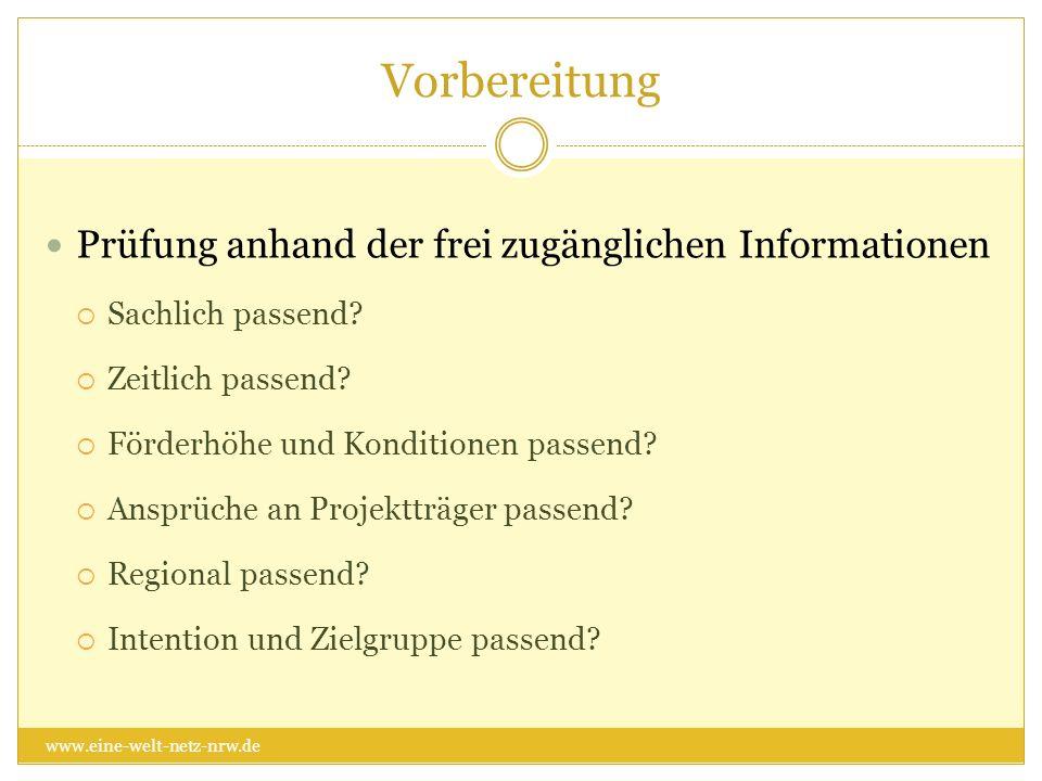 Vorbereitung Prüfung anhand der frei zugänglichen Informationen