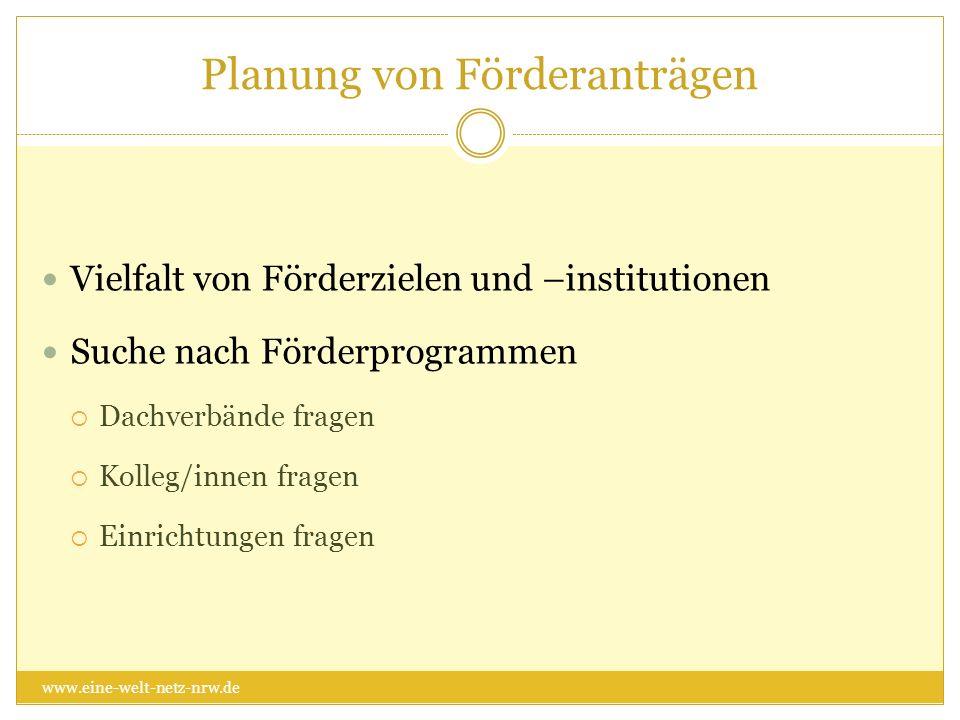 Planung von Förderanträgen