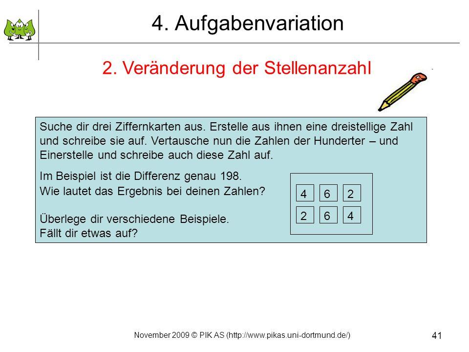 4. Aufgabenvariation 2. Veränderung der Stellenanzahl