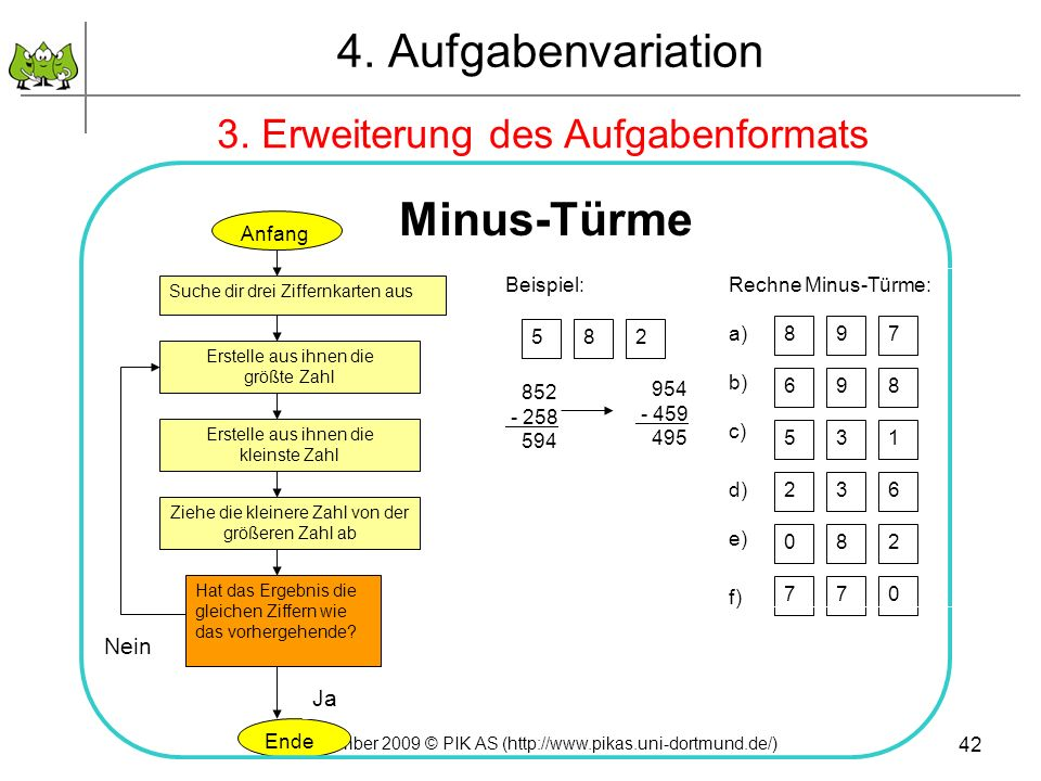 4. Aufgabenvariation Minus-Türme 3. Erweiterung des Aufgabenformats