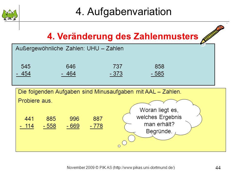 4. Veränderung des Zahlenmusters