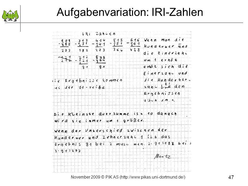 Aufgabenvariation: IRI-Zahlen