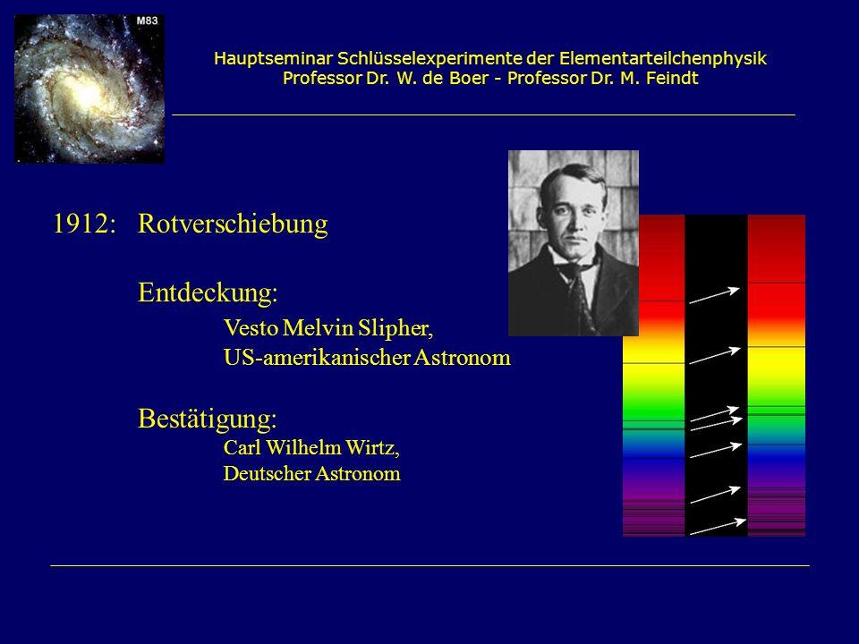 1912: Rotverschiebung Entdeckung: Vesto Melvin Slipher, Bestätigung: