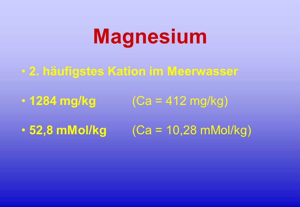 Magnesium 2. häufigstes Kation im Meerwasser