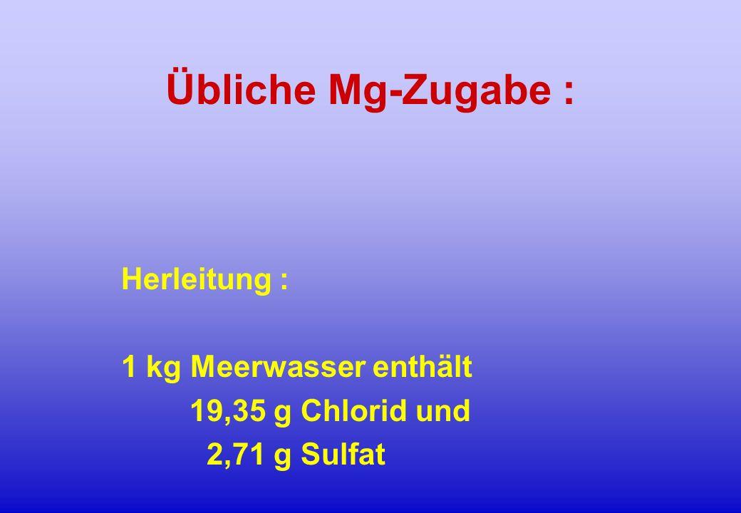 Herleitung : 1 kg Meerwasser enthält 19,35 g Chlorid und 2,71 g Sulfat