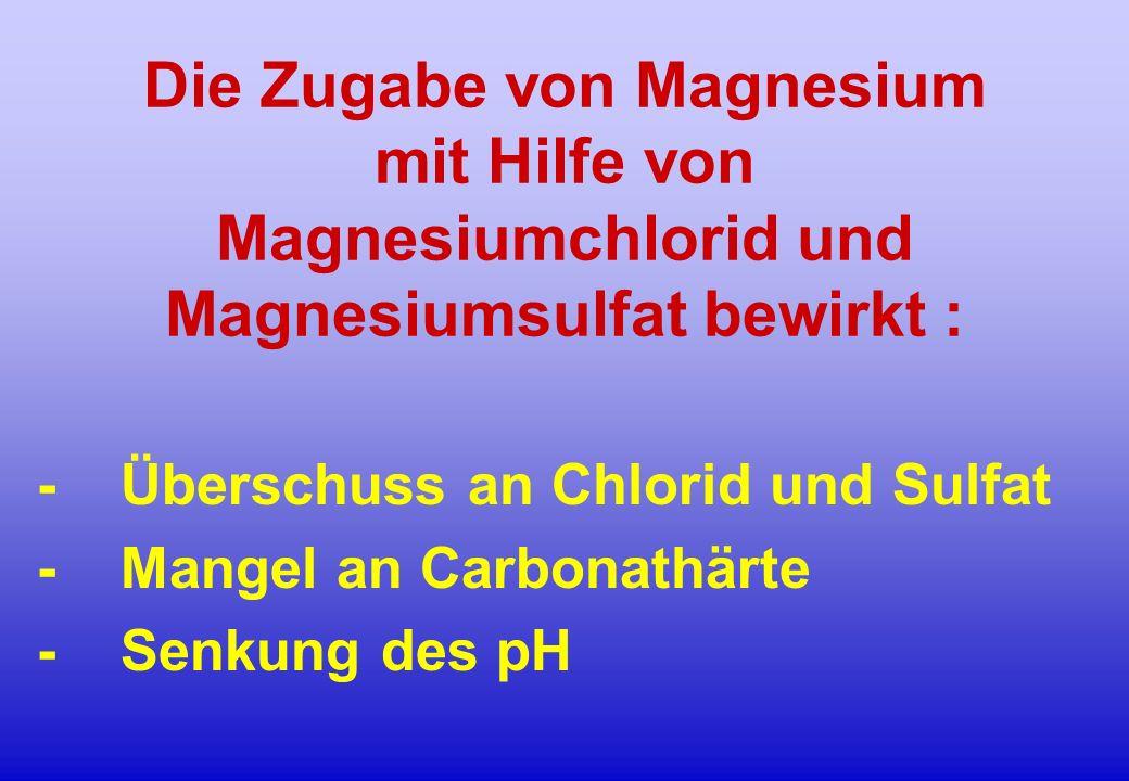 Die Zugabe von Magnesium mit Hilfe von Magnesiumchlorid und Magnesiumsulfat bewirkt :