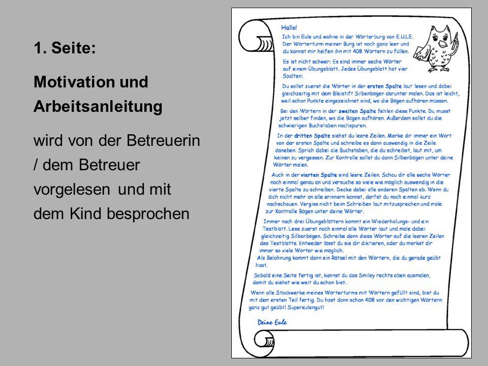 1. Seite: Motivation und Arbeitsanleitung.