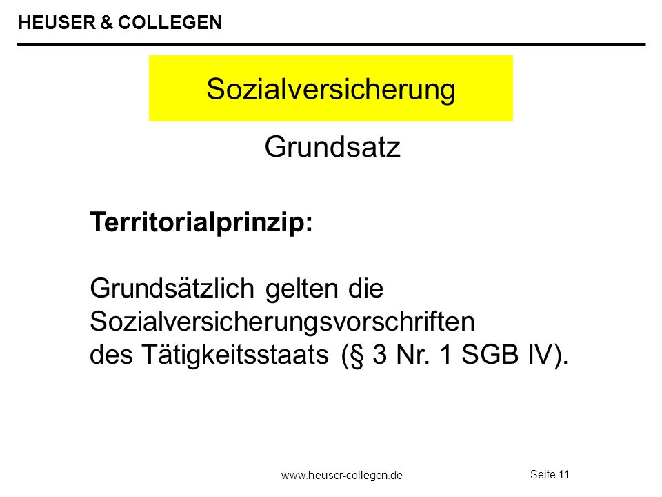 Sozialversicherung Grundsatz Territorialprinzip: