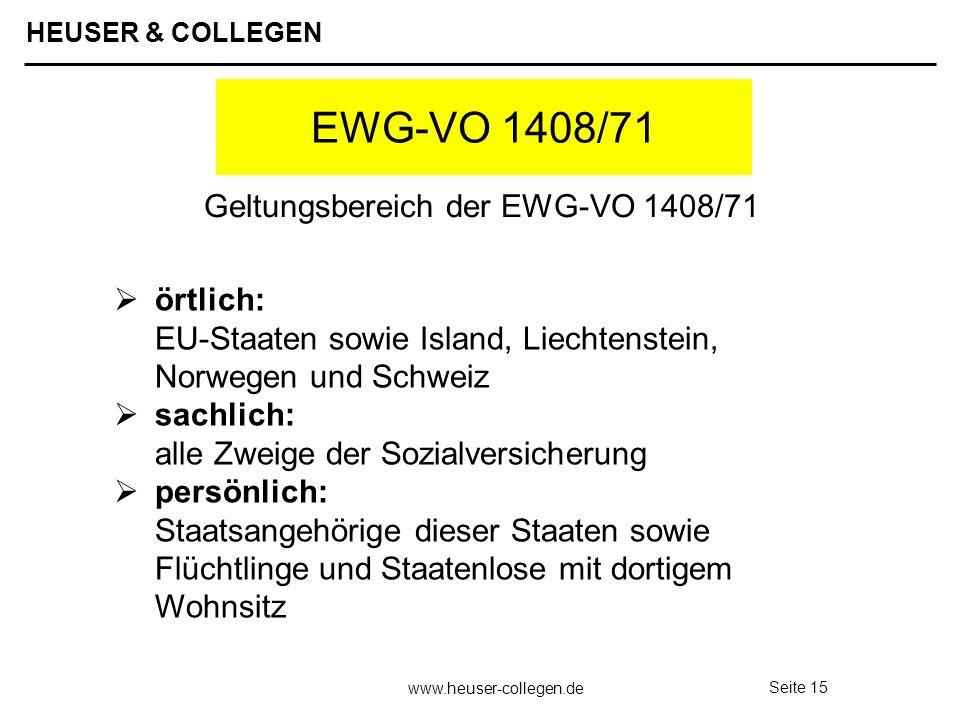 Geltungsbereich der EWG-VO 1408/71
